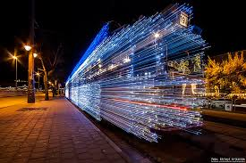 christmas pictures with led lights 30 000 led lights and long exposure turn budapest trams into time