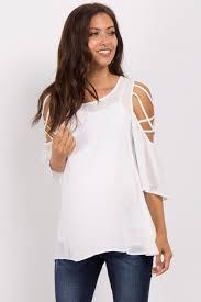 criss cross blouse ivory crisscross cold shoulder maternity blouse