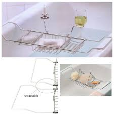 Bathtub Wine And Book Holder Metal Bath Caddy Bathtub Reading Stand Rack Adjustable Wine Book