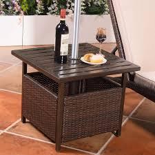 rattan side table outdoor brown rattan wicker steel side table outdoor furniture deck garden