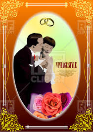 Vintage Wedding Album Vintage Style Frame With Kissing Couple And Roses Cover For