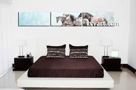 3 piece wildlife horse animal blue canvas multi panel art