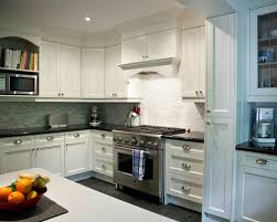 u shape kitchen decoration using light green white glass kitchen