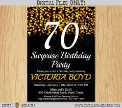 70th birthday invitation gold glitter party invitation elegant