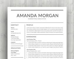 Two Page Resume Professional Resume Template Cv Template For Word With Cover