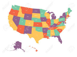 united states map with labels of states and capitals political map of usa united states of america colorful with