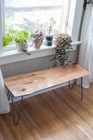 diy live edge wood bench with hairpin legs