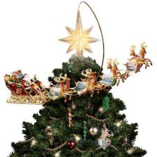 Lighted Sleigh And Reindeer by The Thomas Kinkade Revolving Christmas Tree Topper Hammacher