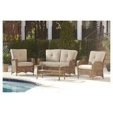 lakewood ranch 4 piece steel woven wicker outdoor patio furniture