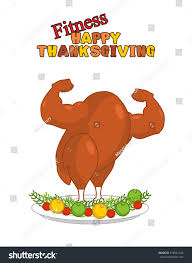 fitness happy thanksgiving day strong turkey stock vector