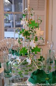 st s day table setting tablescape with shamrock cookie