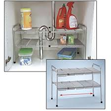 Amazoncom  Tier Expandable Adjustable Under Sink Shelf Storage - Kitchen sink shelves