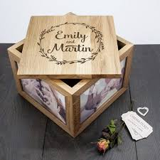 wedding gift keepsake box personalised couples oak photo keepsake box wedding
