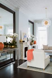 Living Room Console Tables Console Table In Front Of Floor Mirror Transitional Living Room