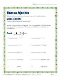 nouns as adjectives printable 3rd 4th grade nouns activity