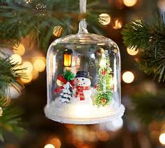 lit snowman in glass cloche ornament pottery barn