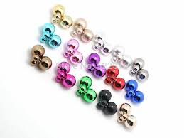 two sided earrings 10pairs 10 different metallic color two sided wear earrings