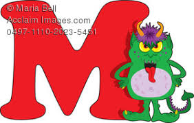 of the alphabet clip art image the letter m is for monster