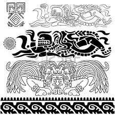 vector of ancient patterns with mayan gods and ornaments royalty