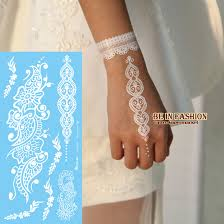 6sheets trendy lace design white henna tattoo paste temporary