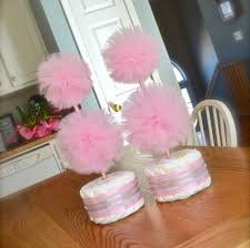 Centerpiece For Baby Shower by Unique Baby Shower Centerpieces Or Decorations Tulle Pompom