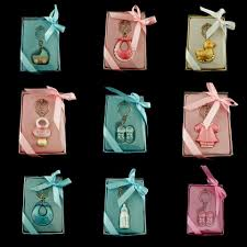 keychain favors baby shower keepsake keychains pink blue pacifier bottle rattle
