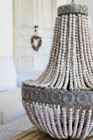 Beaded Wood Chandelier Aged Wood Beaded Chandelier Wood Bead Chandelier Aged Wood And