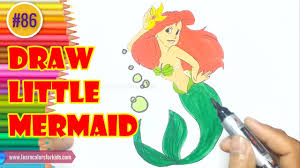 draw princess ariel mermaid colouring book
