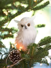 snowy feathered owl ornament gardener s supply