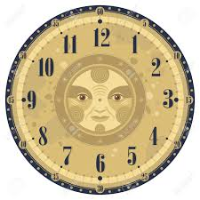 decorative clock vintage clock face template with decorative sun royalty free