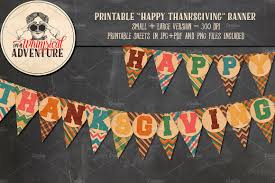 printable happy thanksgiving banner objects creative market