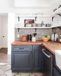 Butcher Block Kitchen Countertops Open Shelving Butcher Block Countertops And Painted Cabinets