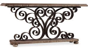 hooker furniture console table hooker furniture living room accents metal scroll console with wood