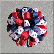 fourth of july hair bows pom pom hair bows girly kurlz