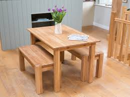 solid oak table u0026 bench dining room set from top furniture