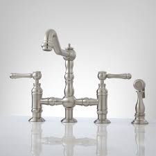 Overstock Kitchen Faucets by Delilah Deck Mount Bridge Faucet With Side Spray Lever Handles