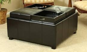 leather tray top ottoman exotic storage ottoman with tray top brilliant storage ottoman with