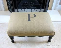 monogram burlap ottoman