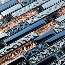 Tile Kitchen Backsplash Rose Gold Ink Blue Chrome Interlocking Glass Tile Kitchen