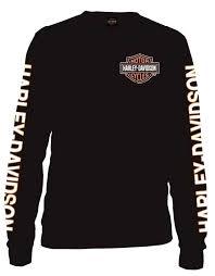 Cheap Harley Davidson Clothes Harley Davidson Men U0027s Long Sleeve Orange Bar U0026 Shield Black Shirt