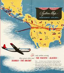 Scenic Route Map by Northwest Airlines Route Map