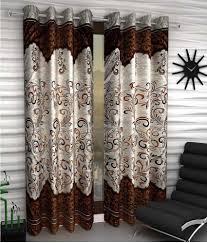 Eyelet Curtains Tanishka Fabs Set Of 2 Door Eyelet Curtains Printed Brown Buy