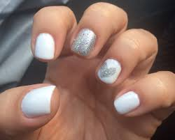 love for the summer white gel nails with silver heart design