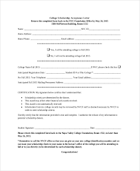 How Does College Acceptance Letter Look Like Sle Scholarship Acceptance Letter 6 Documents In Pdf Word