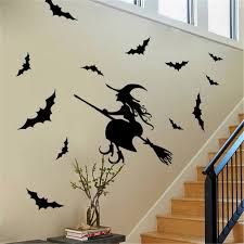 popular witch wall decals buy cheap witch wall decals lots from halloween black witch bat wall sticker paper art removable decals santa furniture decorative stickers kids rooms