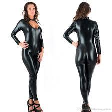 zipper jumpsuit 2018 5xl novelty jumpsuit black faux leather catsuit