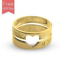couple rings gold images Couple rings with cut out heart rsnamenecklace jpg