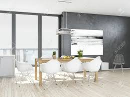 gray dining rooms modern grey and white dining room with wooden floor stock photo