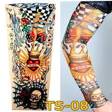 1 pc tattoo sleeves w 08 styles elastic fake 100 nylon arm