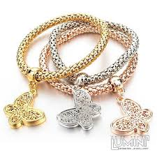 butterfly bracelet charms images Set of 3 bracelets tricolor with lace butterfly charm pendants jpg